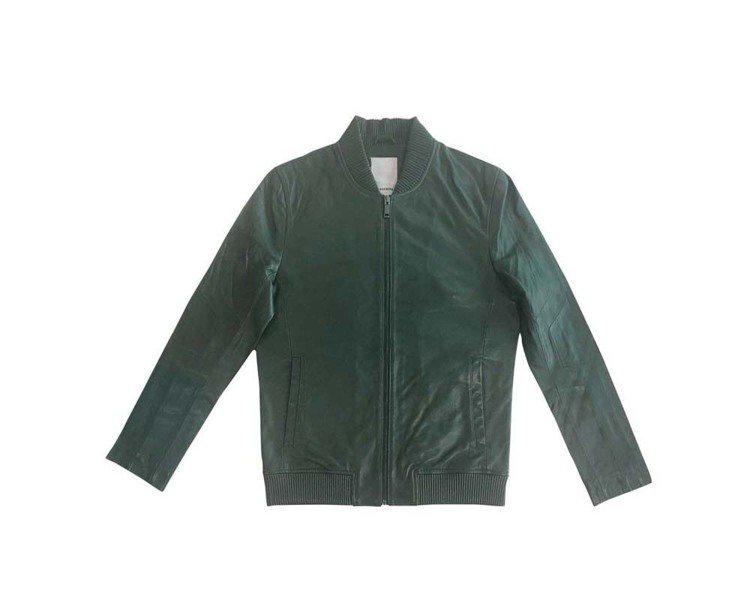 J.Lindeberg深綠色皮衣夾克,約29,980元。圖/J.Lindeber...