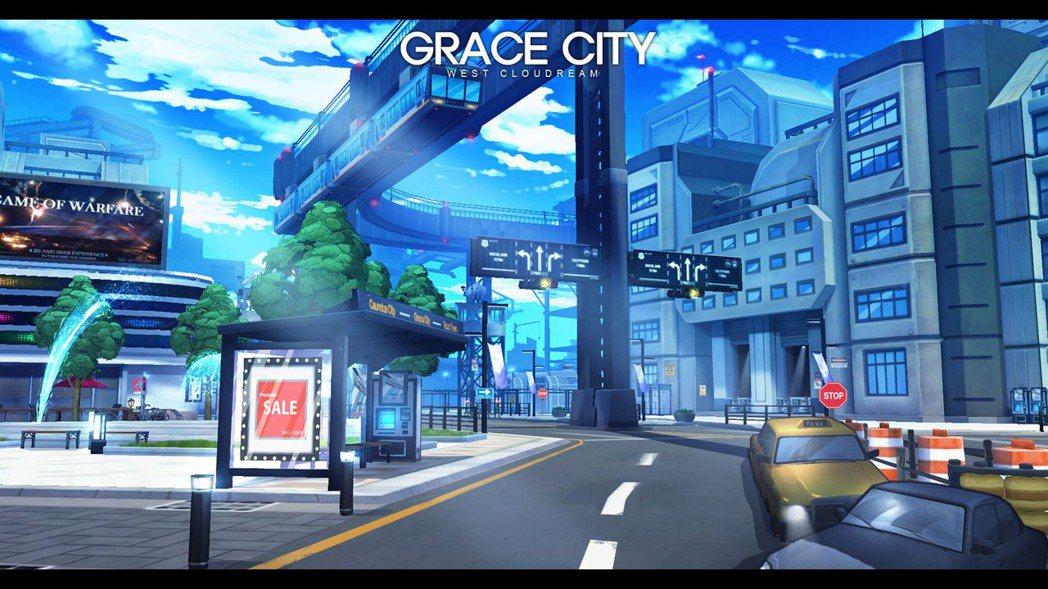 ★「格雷斯城」仍然保有噴水池、電車、戶外舞台、電視牆、咖啡廳、便利商店……等現代...