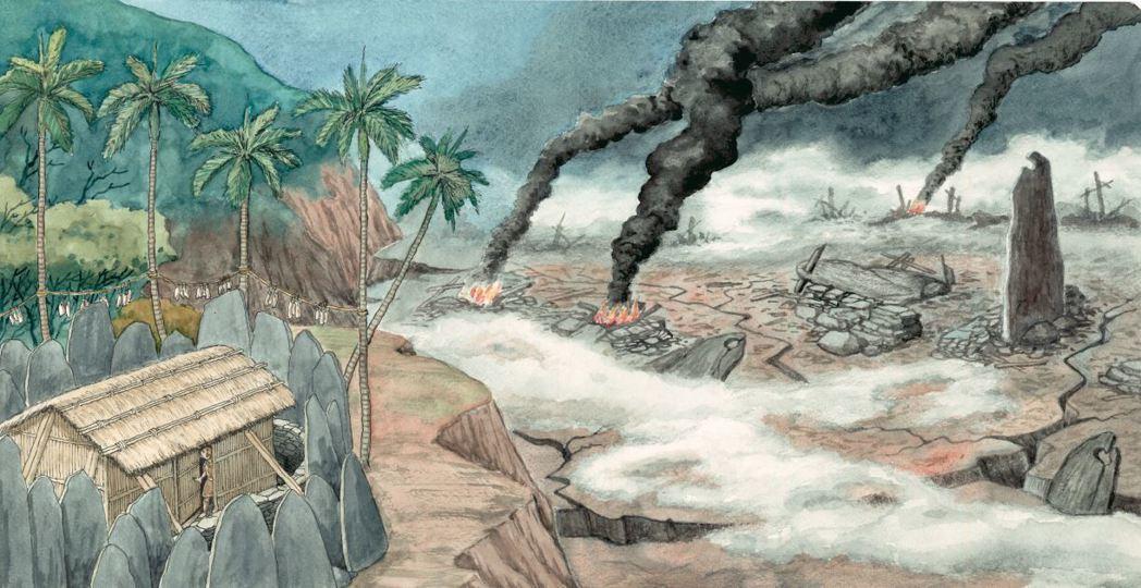 卑南族相傳,為消滅拉拉鄂斯人,一對卑南族兄弟策動上界發動地震。此為陳建年根據神話...
