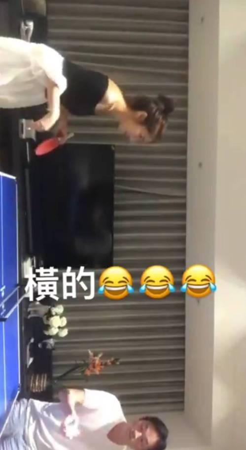 楊謹華自曝與男友打桌球的影片。圖/截圖自臉書