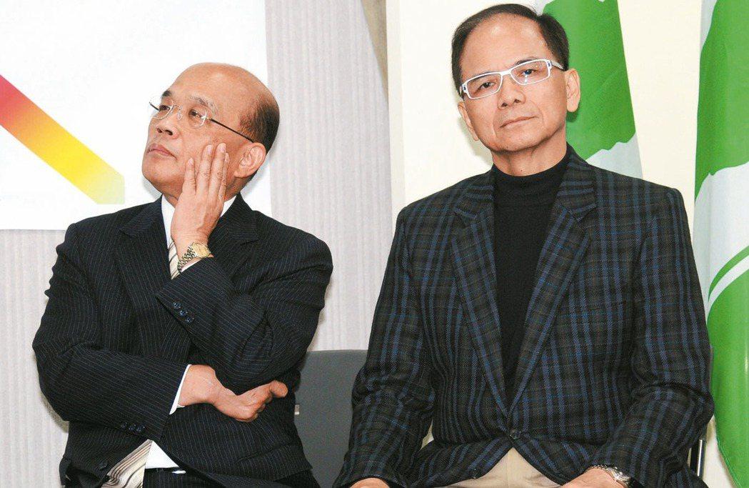 游錫堃(右)雖沒當過立委,但也是當年「黨外三劍客」之一,對質詢有豐富經驗。 圖/...