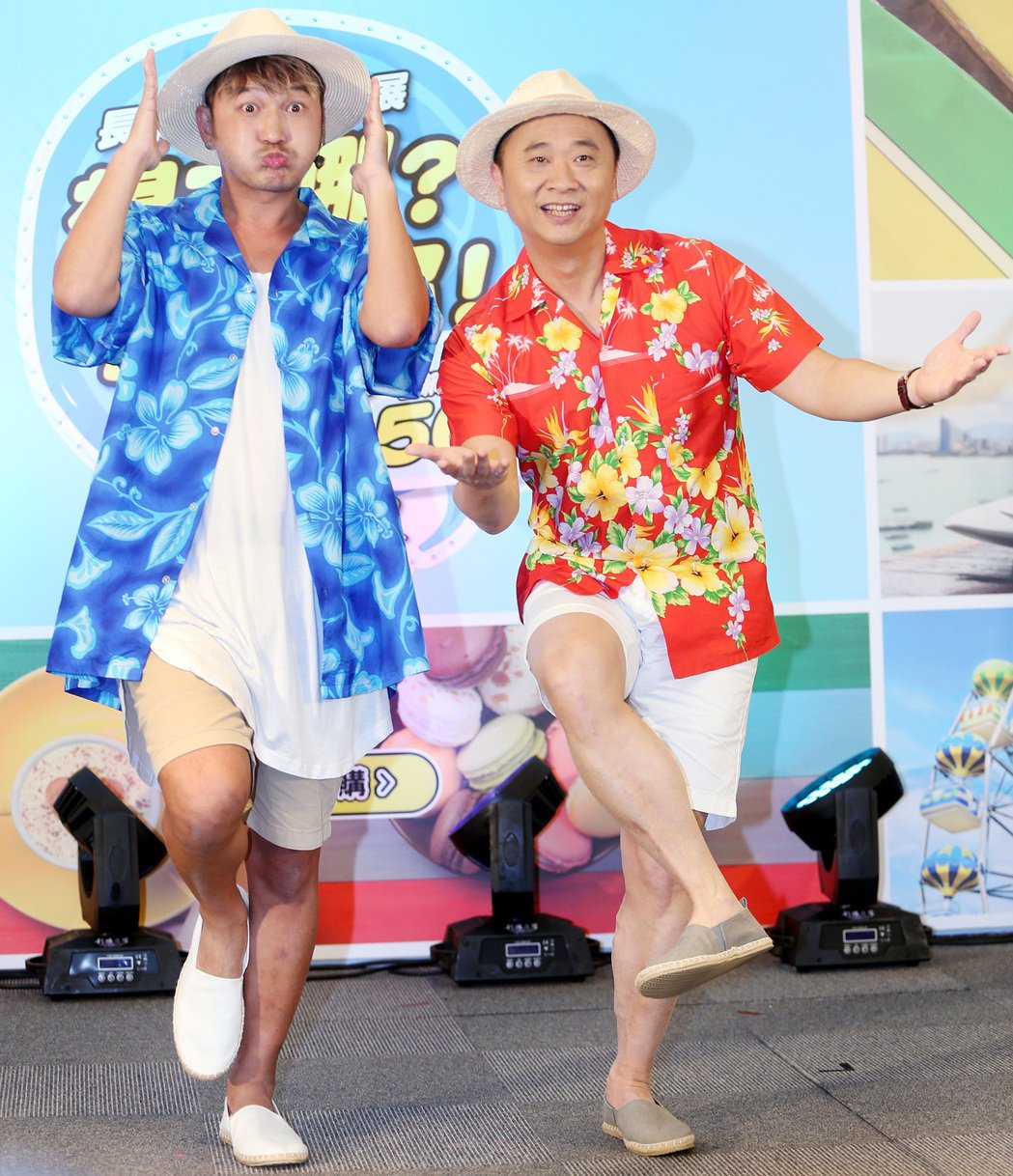 邰智源(右)與Kid(左)為長榮線上旅展活動代言。記者侯永全/攝影