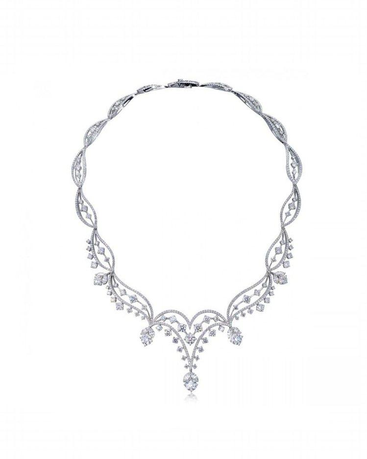 點睛品Infini Love Diamond 典雅系列18K白金鑽石頸鍊,418...