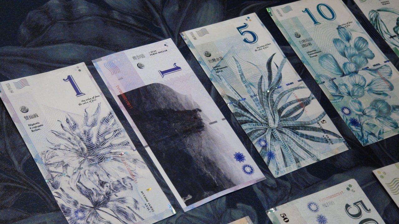 「蕨對值」把台灣稀有及瀕臨絕種、不受正視的蕨類,化為鈔票圖騰。記者王昭月/攝影