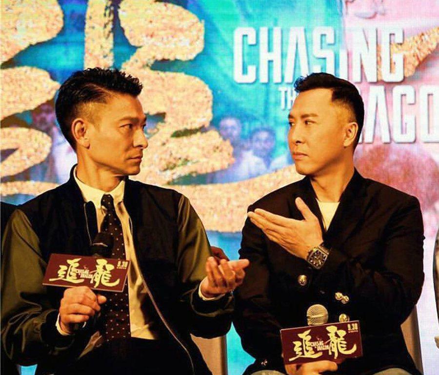 劉德華(左)、甄子丹(右)為「追龍」來台宣傳。圖/華映提供