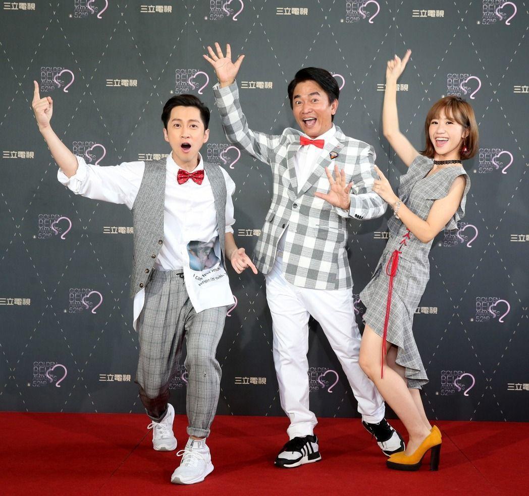 吳宗憲(中)和陳漢典(左)、Lulu是本屆金鐘黑馬之一。圖/聯合報系資料照