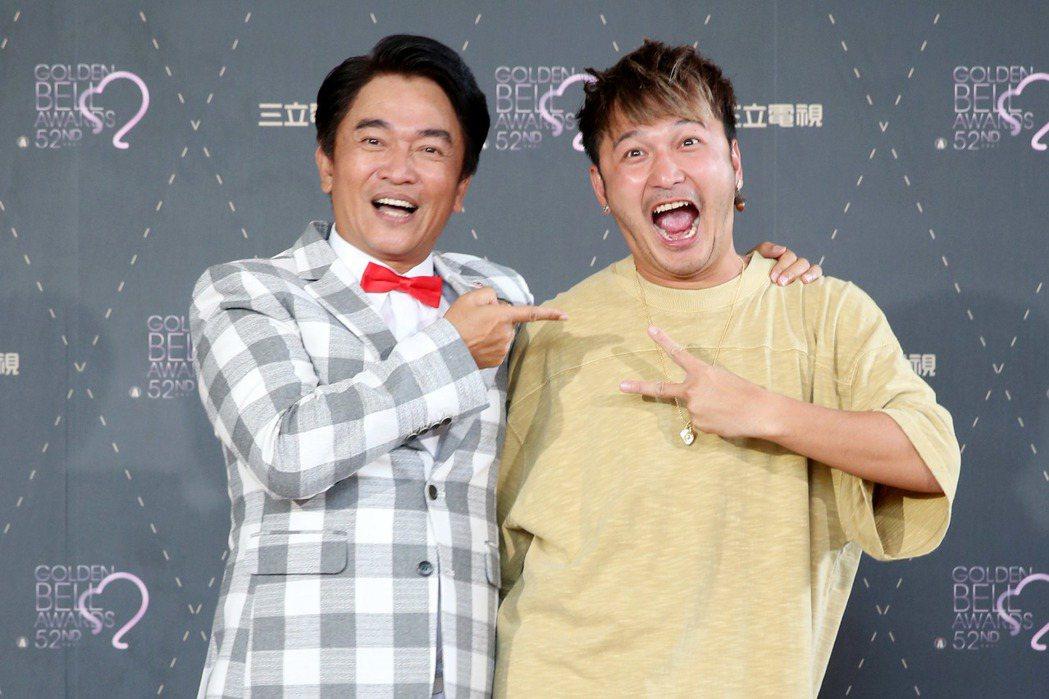 吳宗憲(左)「KID」林柏昇(右)慶祝入圍金鐘獎。圖/聯合報系資料照