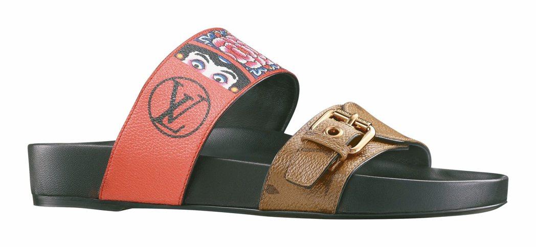 日式圖騰與monogram交織出風格獨特的涼鞋。 圖/LV提供