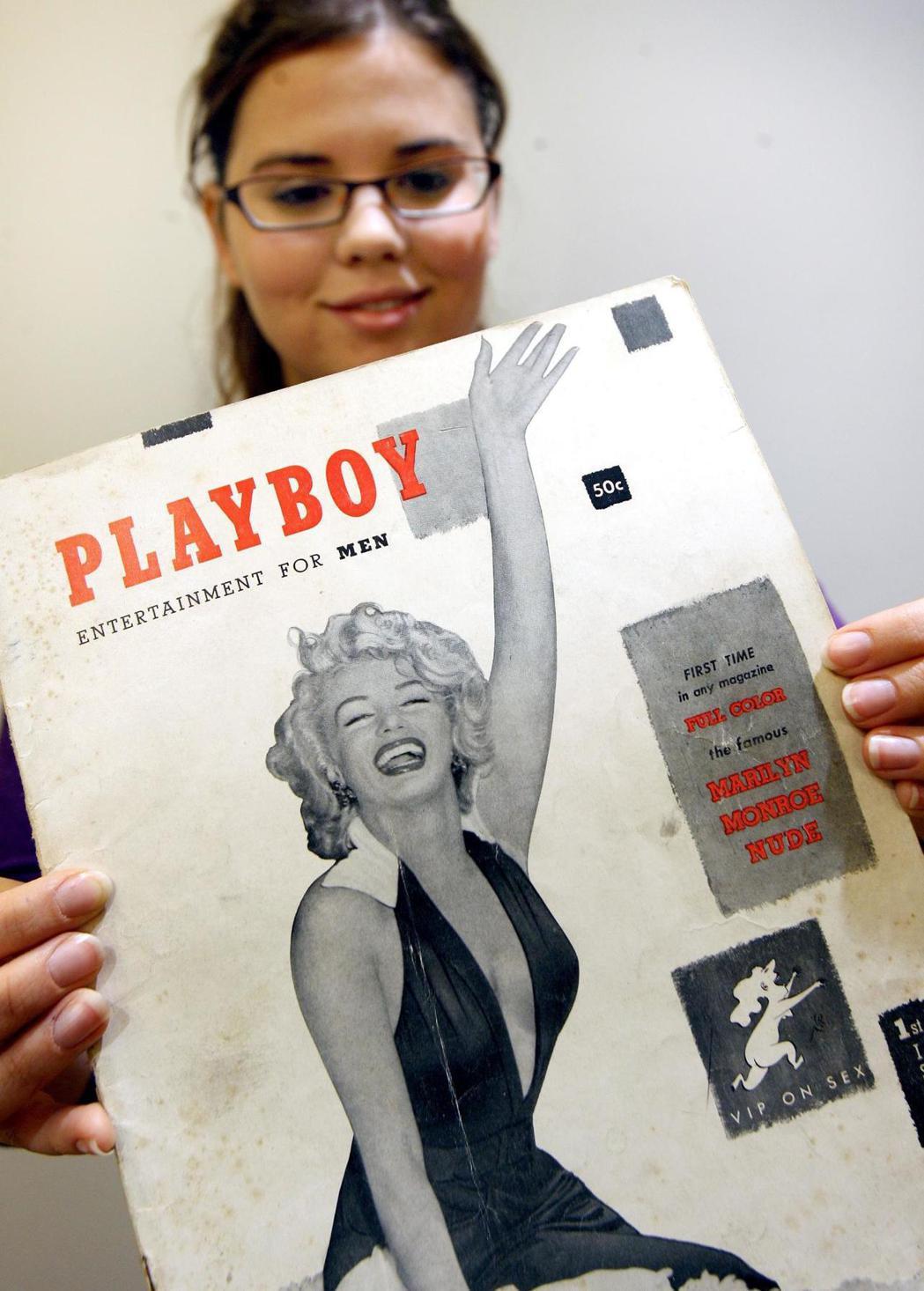 花花公子1953年12月創刊號,封面女郎請來性感女神瑪麗蓮夢露,一炮而紅。 (美...