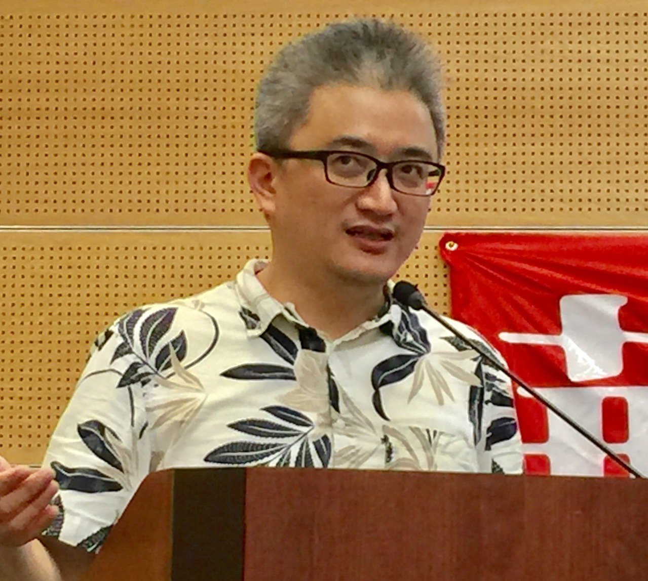 AI教父杜奕瑾上周六在華府國建聯誼會談台灣的AI實驗室。 特派員許惠敏/攝影