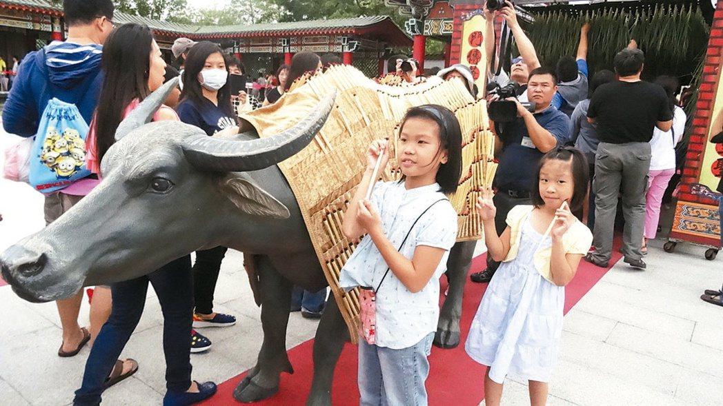 2015年高雄左營孔廟舉辦的祭孔大典,以塑像代替真牛,學童在儀式結束後從牛身拔「...