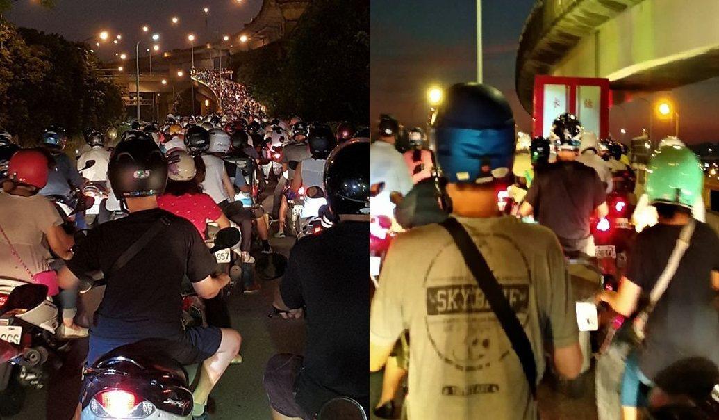 華江橋昨(27)日晚間大塞車,上百台機車堵在機車引道動彈不得,造成回堵的原來是一...