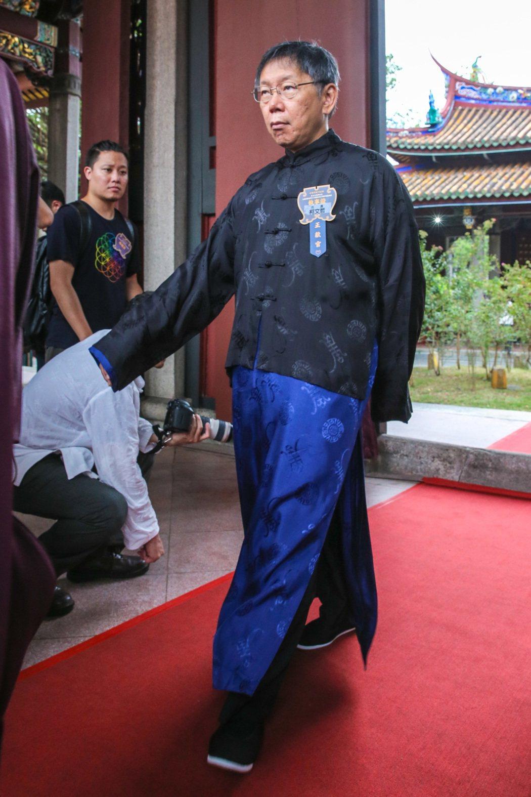 台北市長柯文哲今年首度出席擔任典禮正獻官。記者鄭清元/攝影