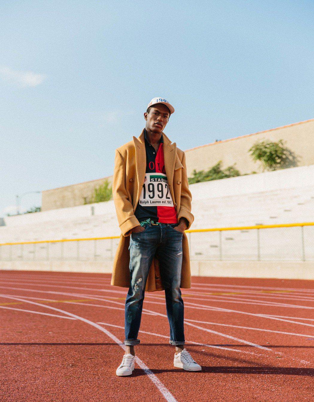 Polo Ralph Lauren在體育場的系列照片,展現正裝搭運動的風格。圖/...