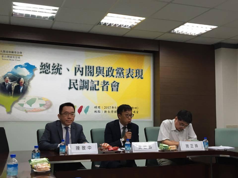 新台灣國策智庫今公布「總統、內閣與政黨表現民調」。記者周佑政/攝影