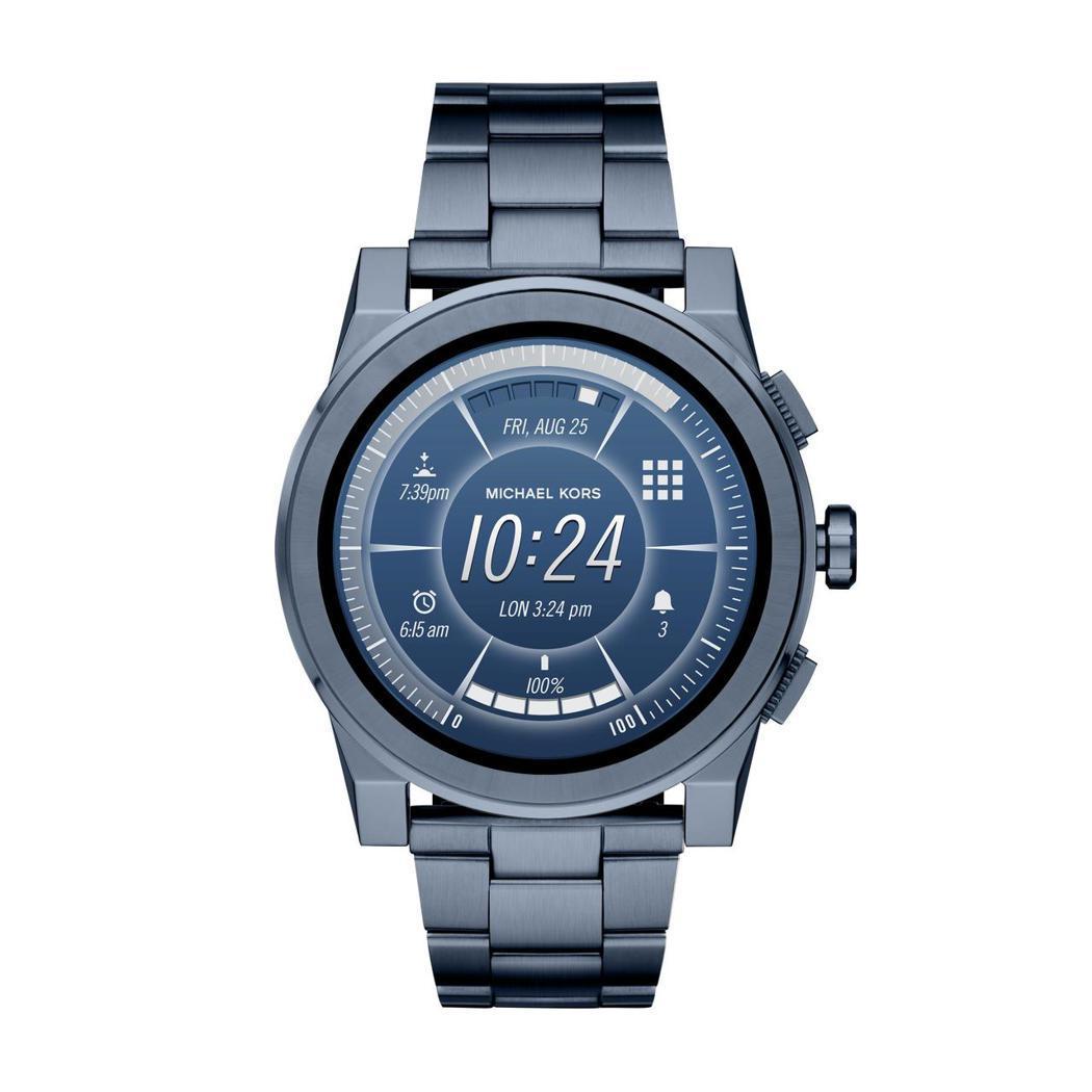Grayson系列全螢幕觸控式智慧型腕表,藍色電鍍設計,約14,500元。圖/M...