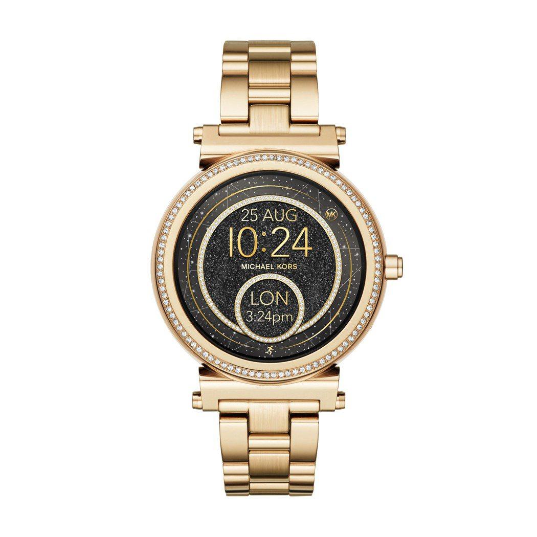 Sofie系列全螢幕觸控式智慧型腕表,密鑲水晶表圈金色不鏽鋼表帶,約14,500...
