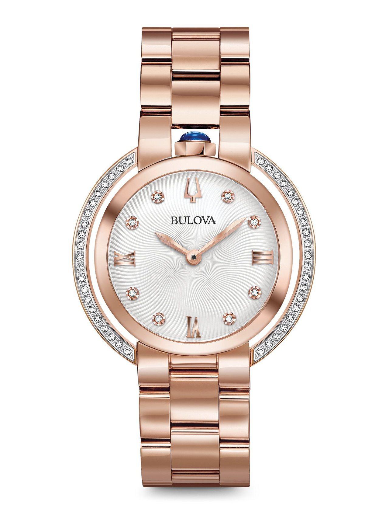 BULOVA Curv系列98R248腕表,不鏽鋼鍍玫瑰金表殼,約32,800元...