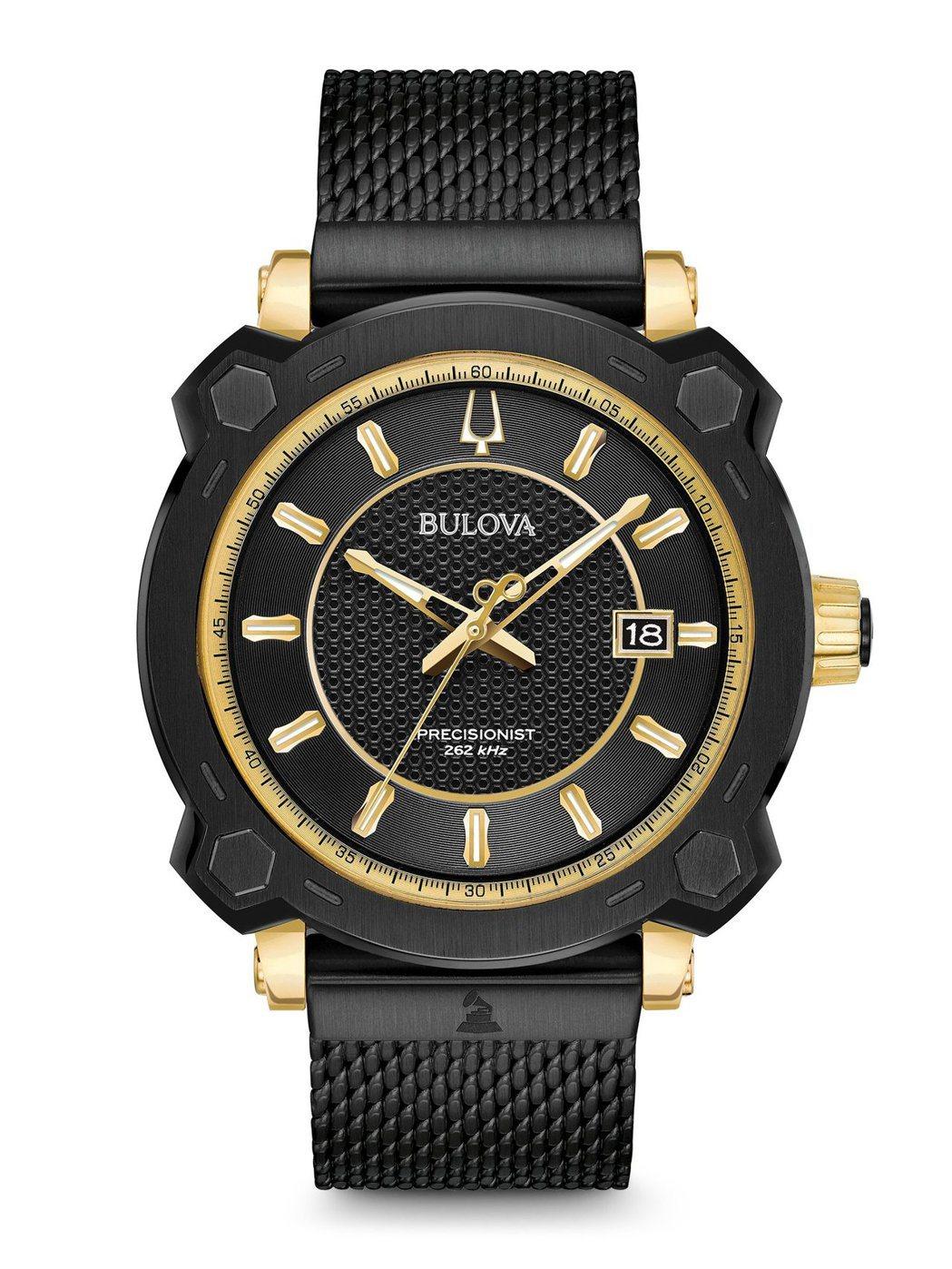 BULOVA葛萊美聯名系列98B303腕表,不鏽鋼鍍香檳金表殼,約29,800元...