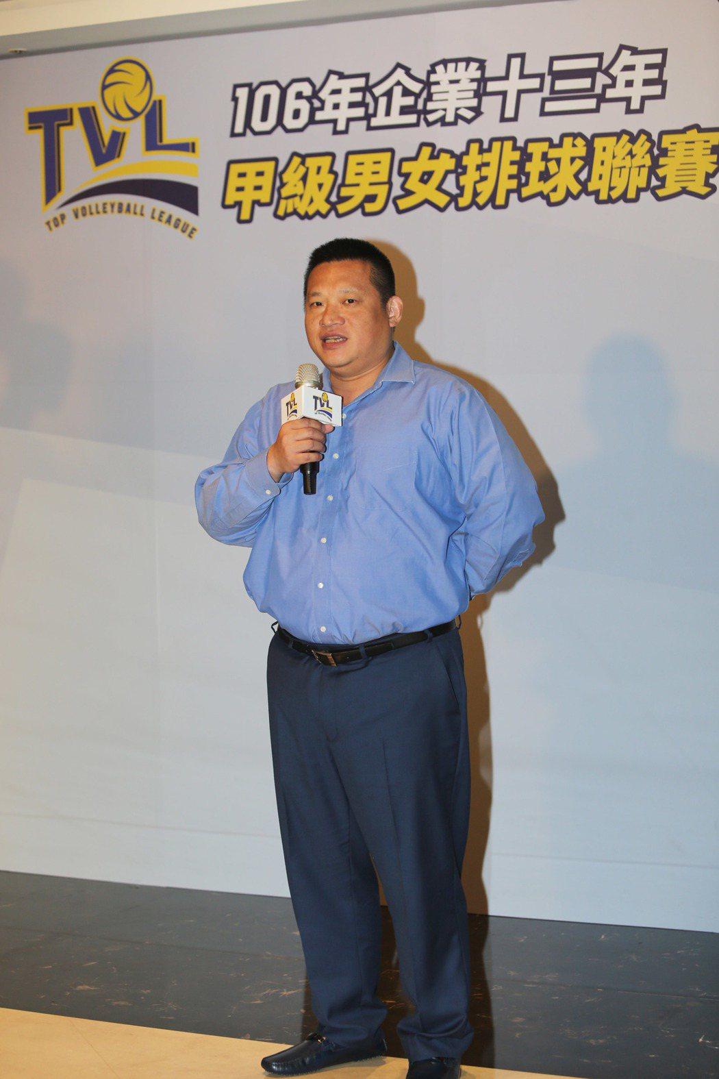 中華民國排球協會王貴賢理事長邀請大家進場支持10月28日企業排球聯賽開幕戰。圖/...