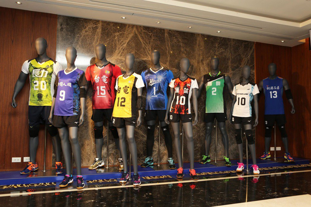 106年企業十三年甲級男女排球聯賽各隊球衣炫麗亮相。圖/中華民國排球協會提供