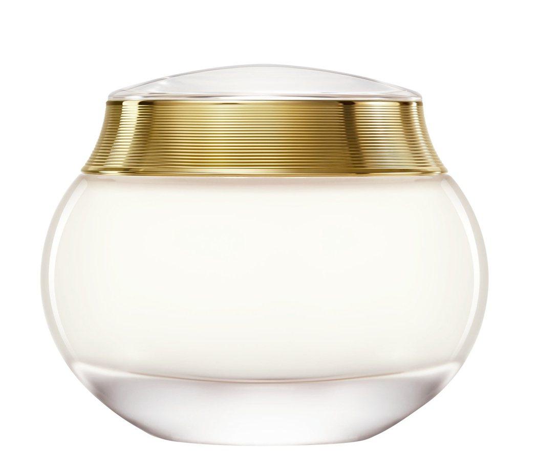 J'adore L'or 滋潤芬芳身體霜以全新風貌問世,乳白色上蓋與圓弧形玻璃瓶...