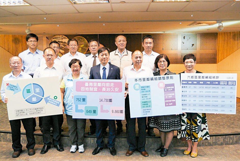 台南市里鄰整併案於本周市政會議通過,將於今年底公告,預計明年1至4月由民政單位協...