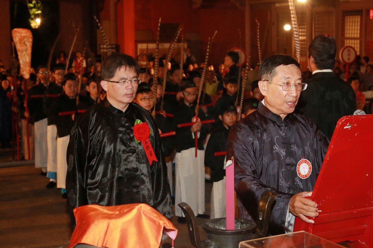 台南祭孔大典昨天在孔廟舉辦,由代理市長李孟諺擔任正獻官。 圖/市政府提供