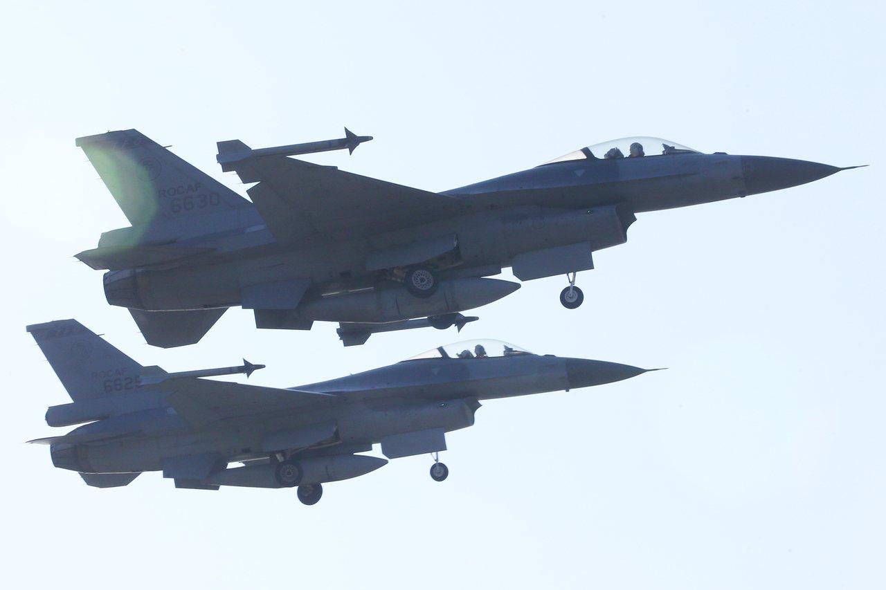 我國F-16戰機示意圖。聯合報系資料照/記者蘇健忠攝影