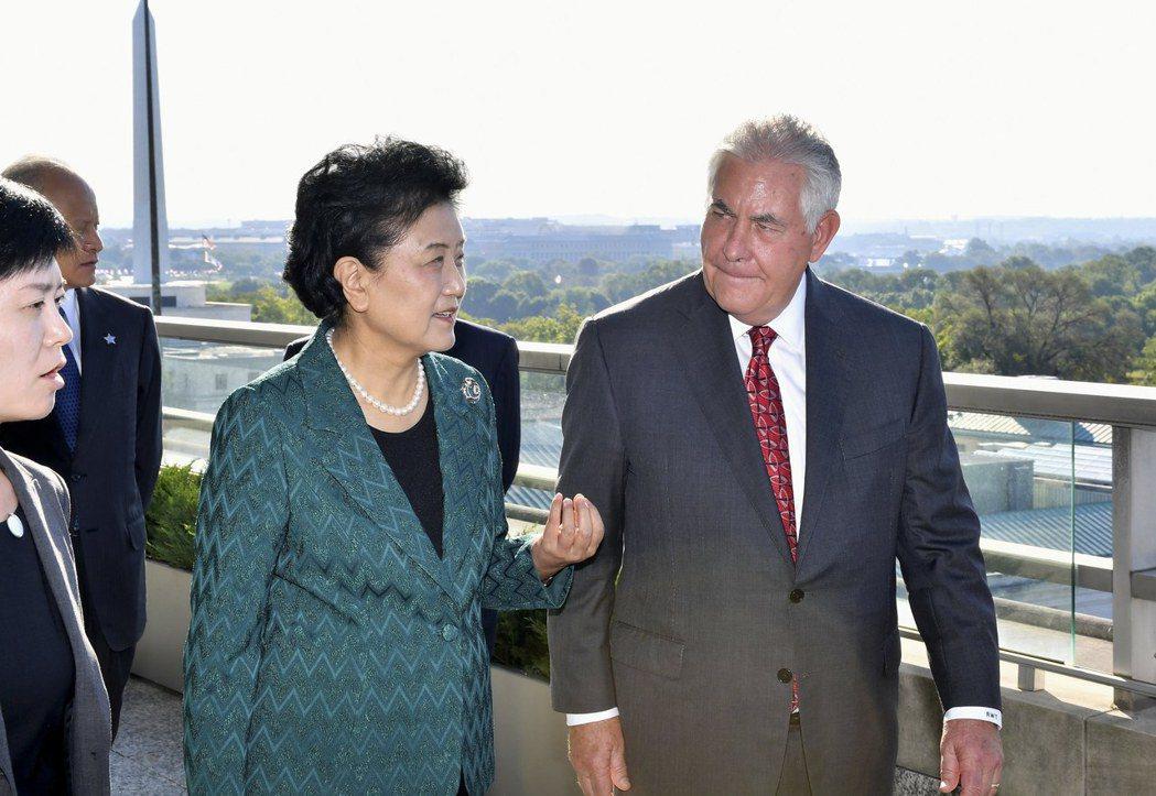美國國務卿提勒森(右)在華府接待來訪的中國國務院副總理劉延東。歐新社