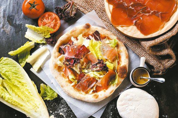 生火腿野菜披薩240元。