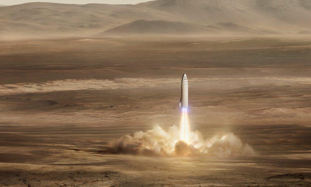 SpaceX計畫中的超級大火箭,目標5年後派遣貨運太空船到火星。 圖/取自Sp...