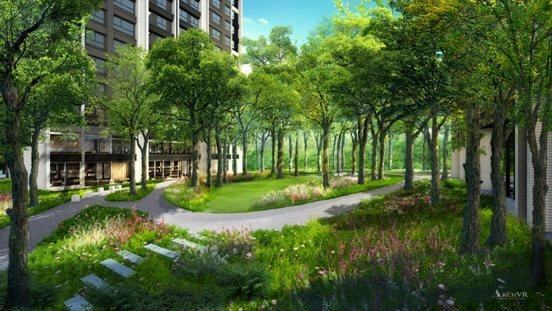 「國泰禾」植栽豐富,呈現出如英式景觀公園的景致。 圖╱國泰禾 提供