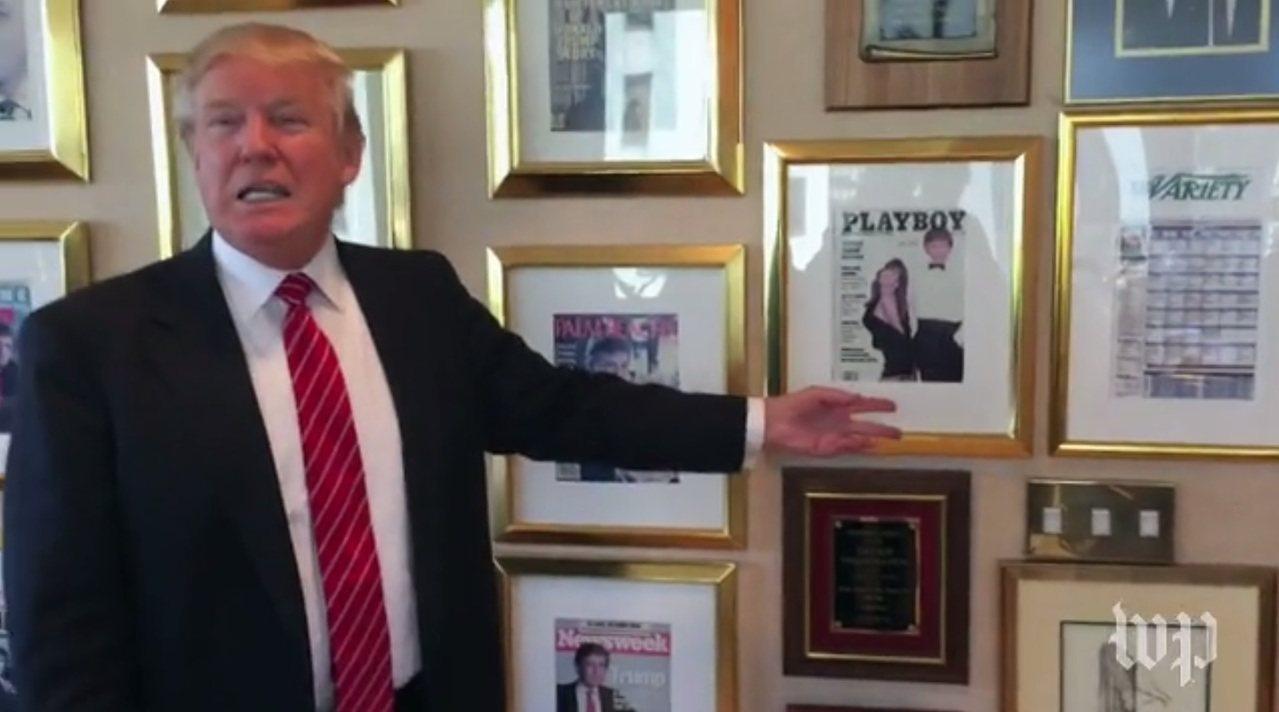 川普將印有自己照片的《花花公子》雜誌封面,錶框掛在川普大樓的辦公室牆上。 圖擷自...