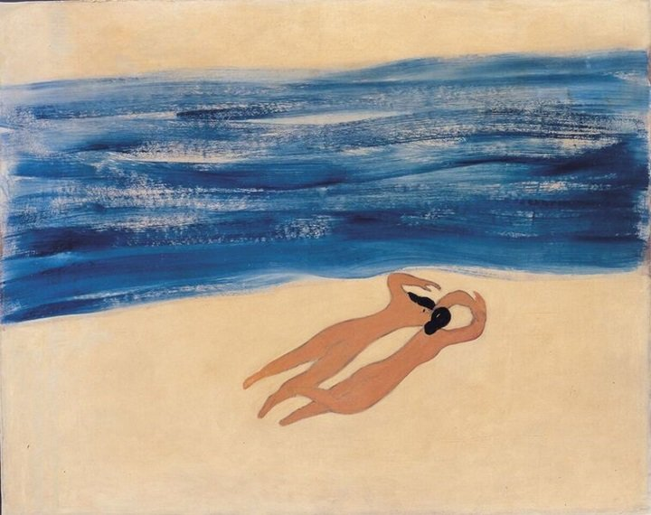 常玉作品「 沙灘雙美」。圖/富邦藝術基金會提供
