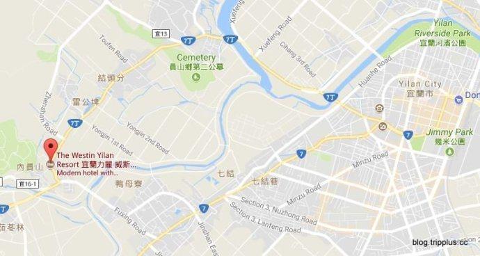 渡假村的地理位置。圖文來自於:TripPlus