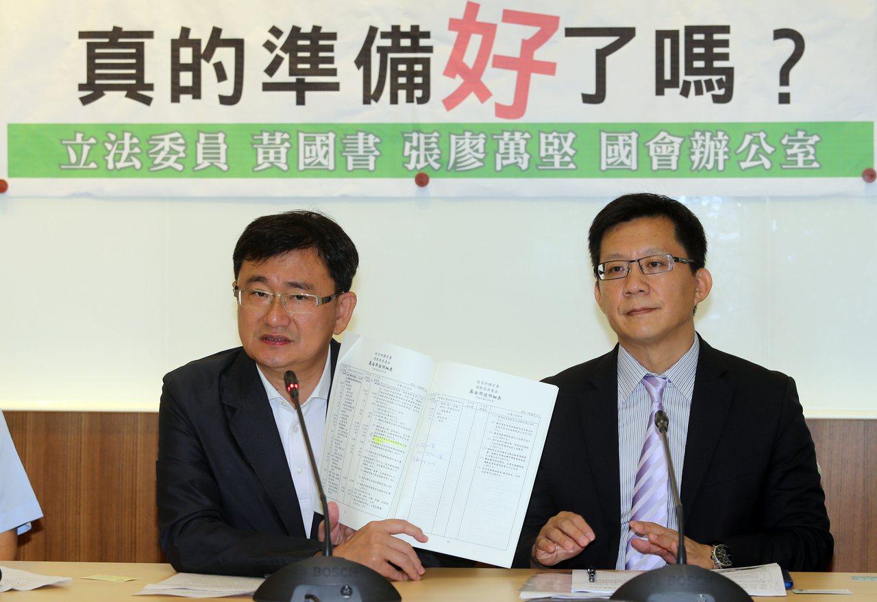 立委黃國書(左)、張廖萬堅(右)質疑運動產業博覽會相關單位是否真的準備好了嗎?記...