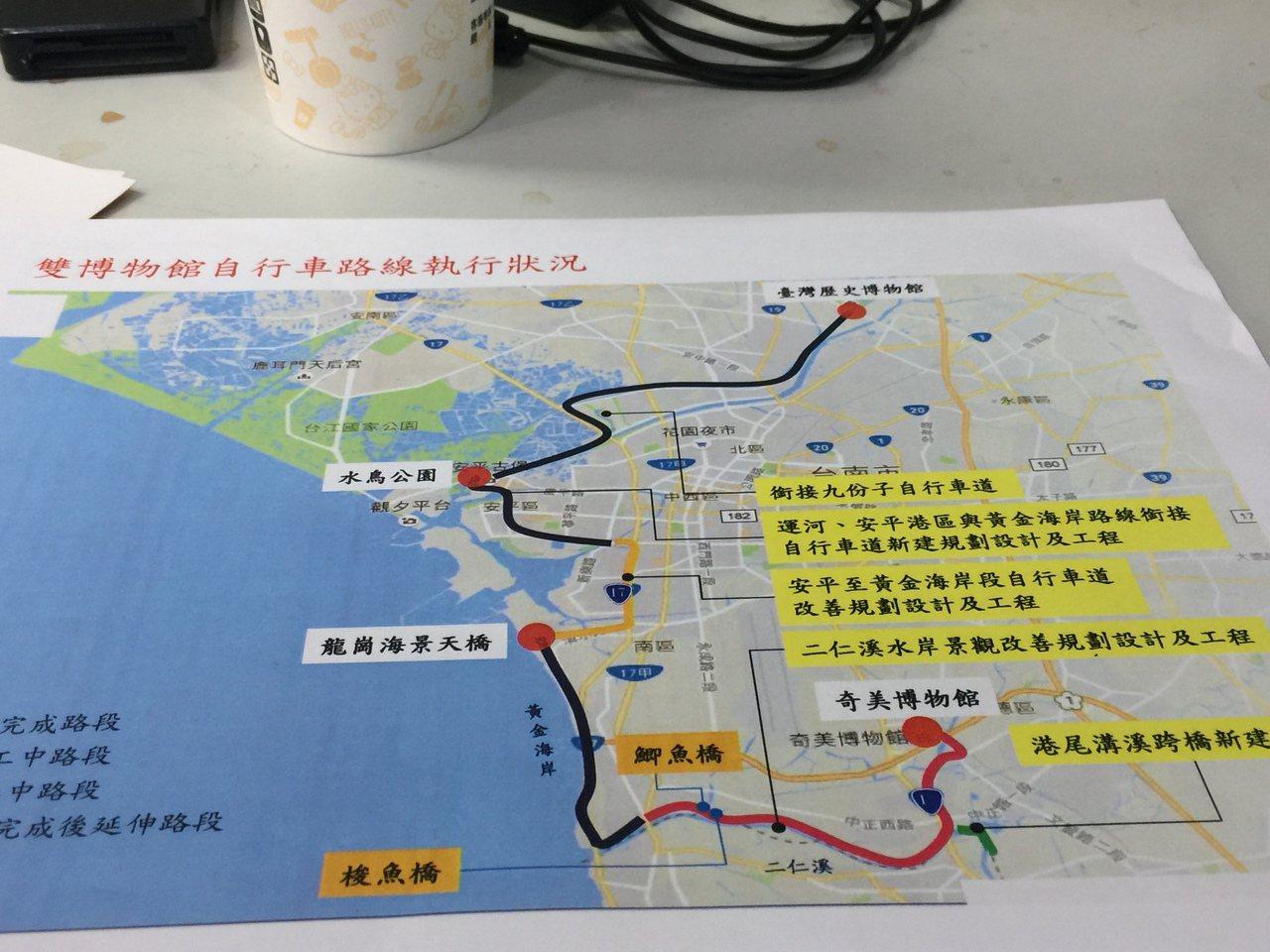 台灣歷史博物館至奇美博物館的雙博自行車道。記者吳政修/翻攝