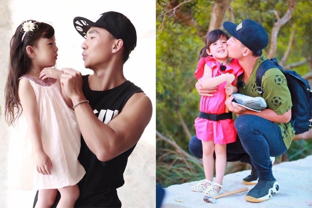 劉畊宏與女兒小泡芙參加陸綜「爸爸去哪兒5」。圖/擷自微博