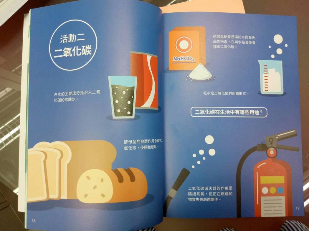 美感教科書中自然課本中提到氣體實驗的章節都用冷色配色,令人耳目一新。記者吳思萍/...