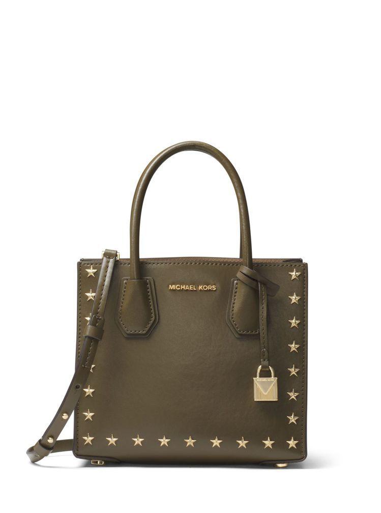 Mercer橄欖綠金星小提包,售價17,800元。圖/MICHAEL KORS提...