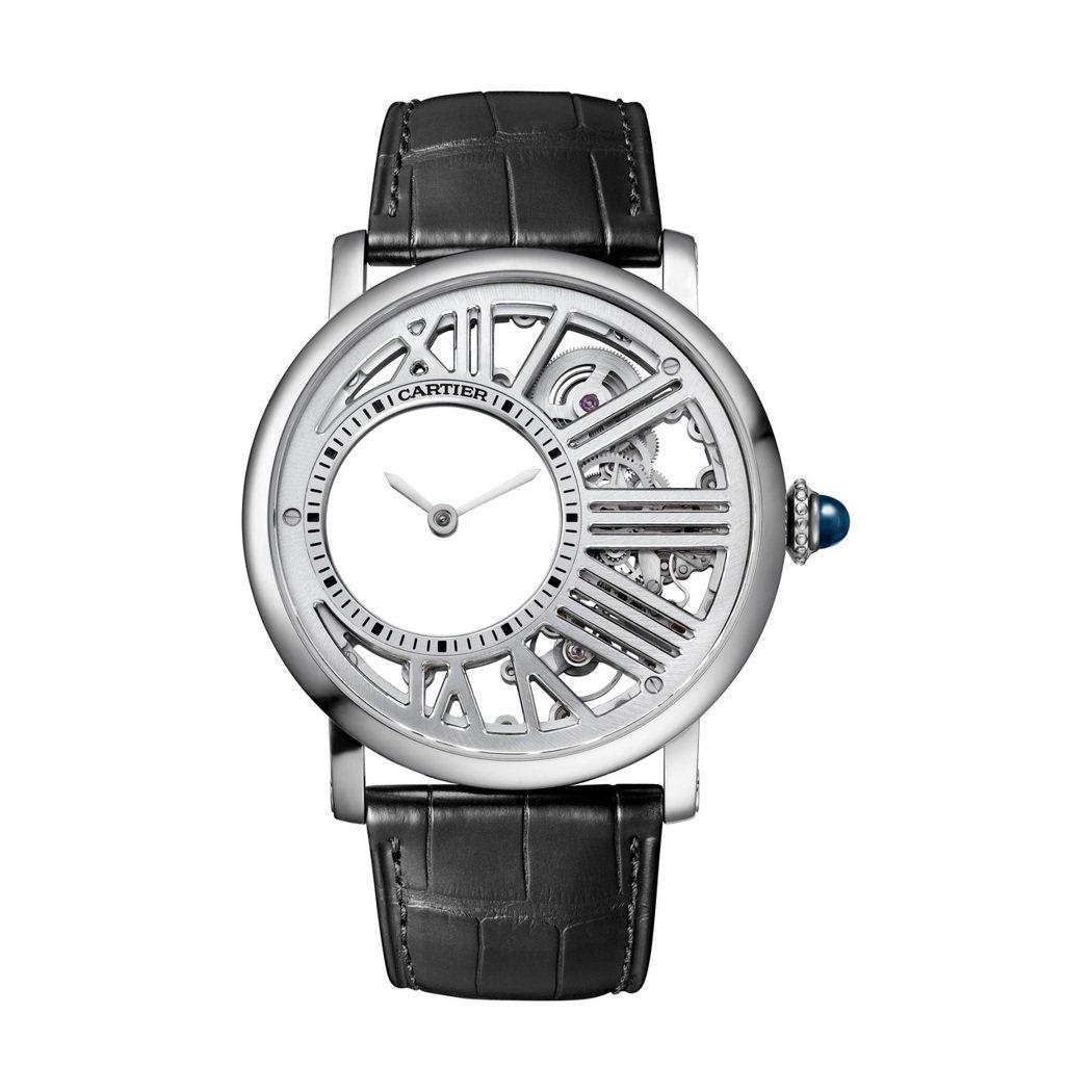 Rotonde de Cartier神秘小時鏤空腕表,42毫米鈀金表殼、卡地亞 ...