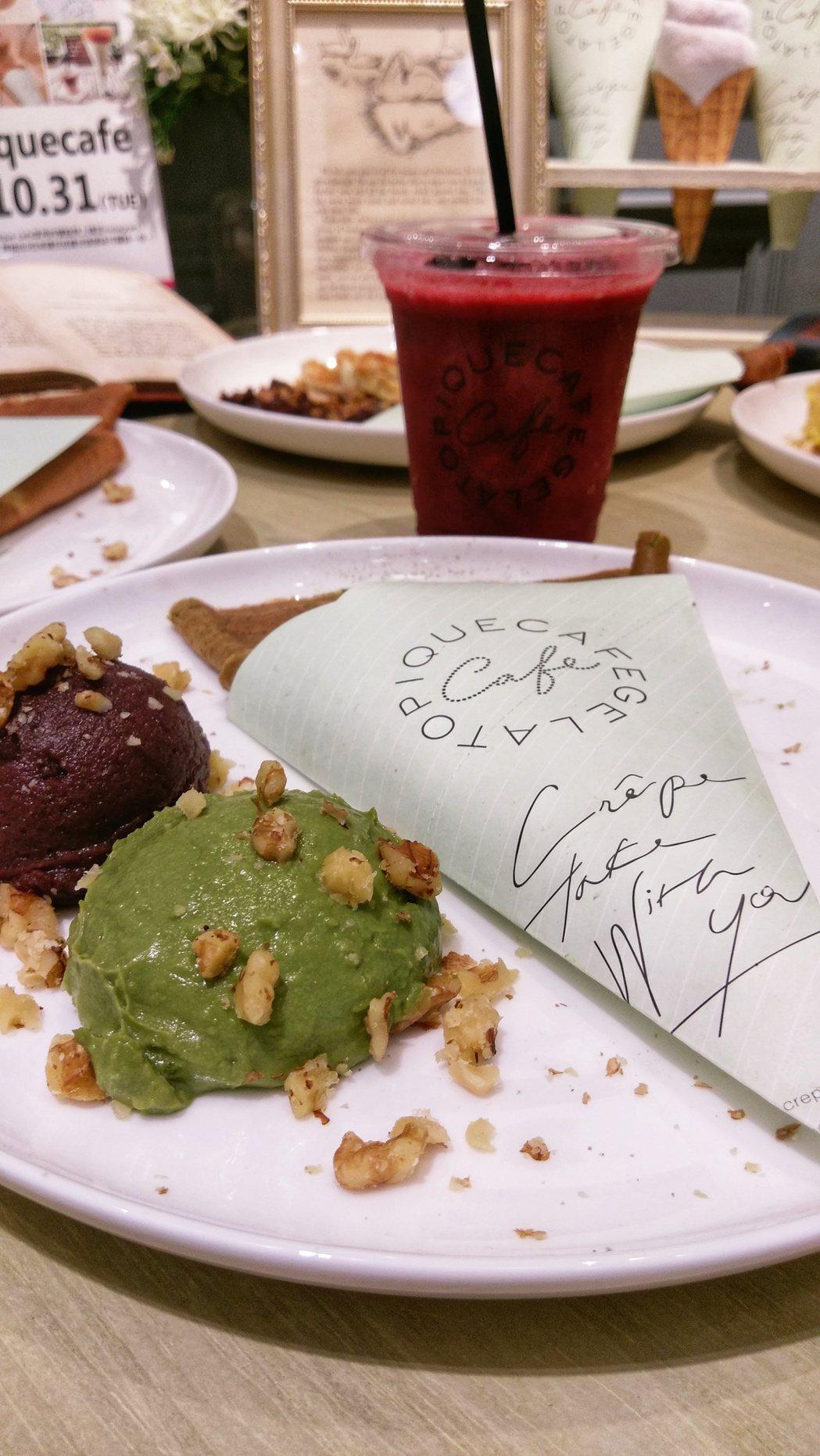 選用京都抹茶粉的抹茶紅豆可麗餅,140元。記者江佩君/攝影