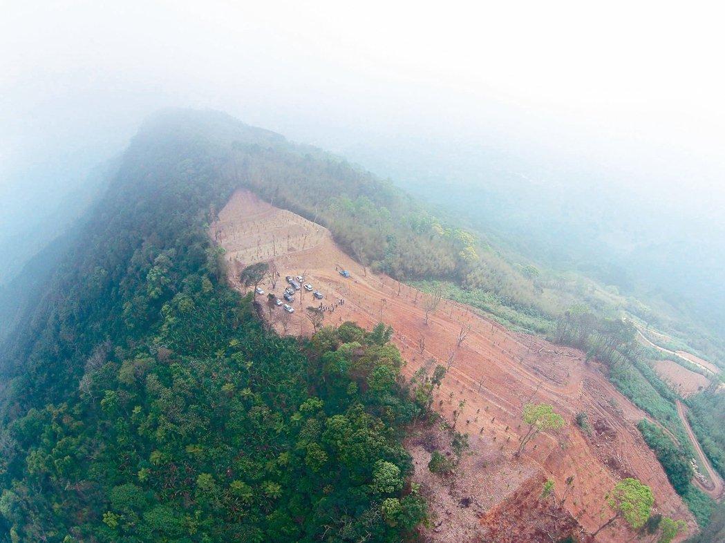 新竹縣尖石鄉許多山頭禿了,圖為梅花段山坡地六月被濫墾慘況。 本報資料照片