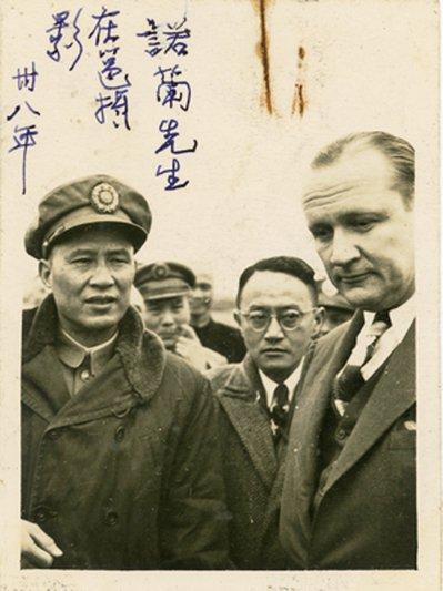 前美國參議員諾蘭(右)於廣西會面白崇禧(左)。 圖/胡佛檔案館提供