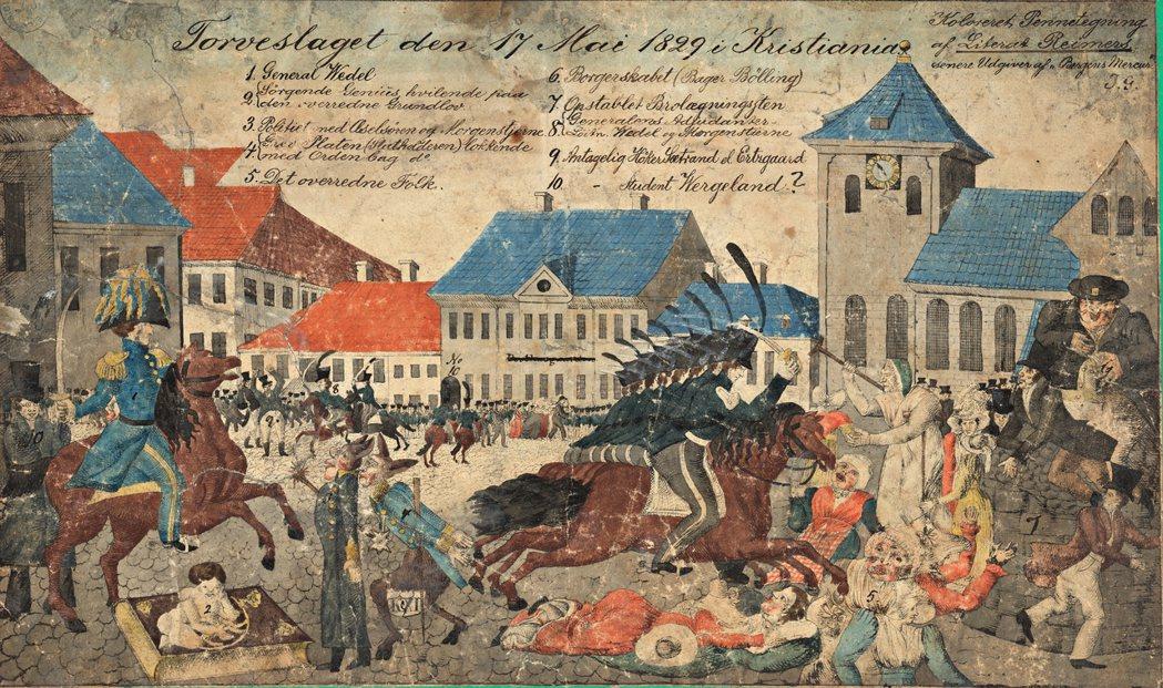 1829年的廣場之戰,當時奧斯陸居民在街頭上,歡慶遭到瑞典及挪威聯合王國禁止的「...