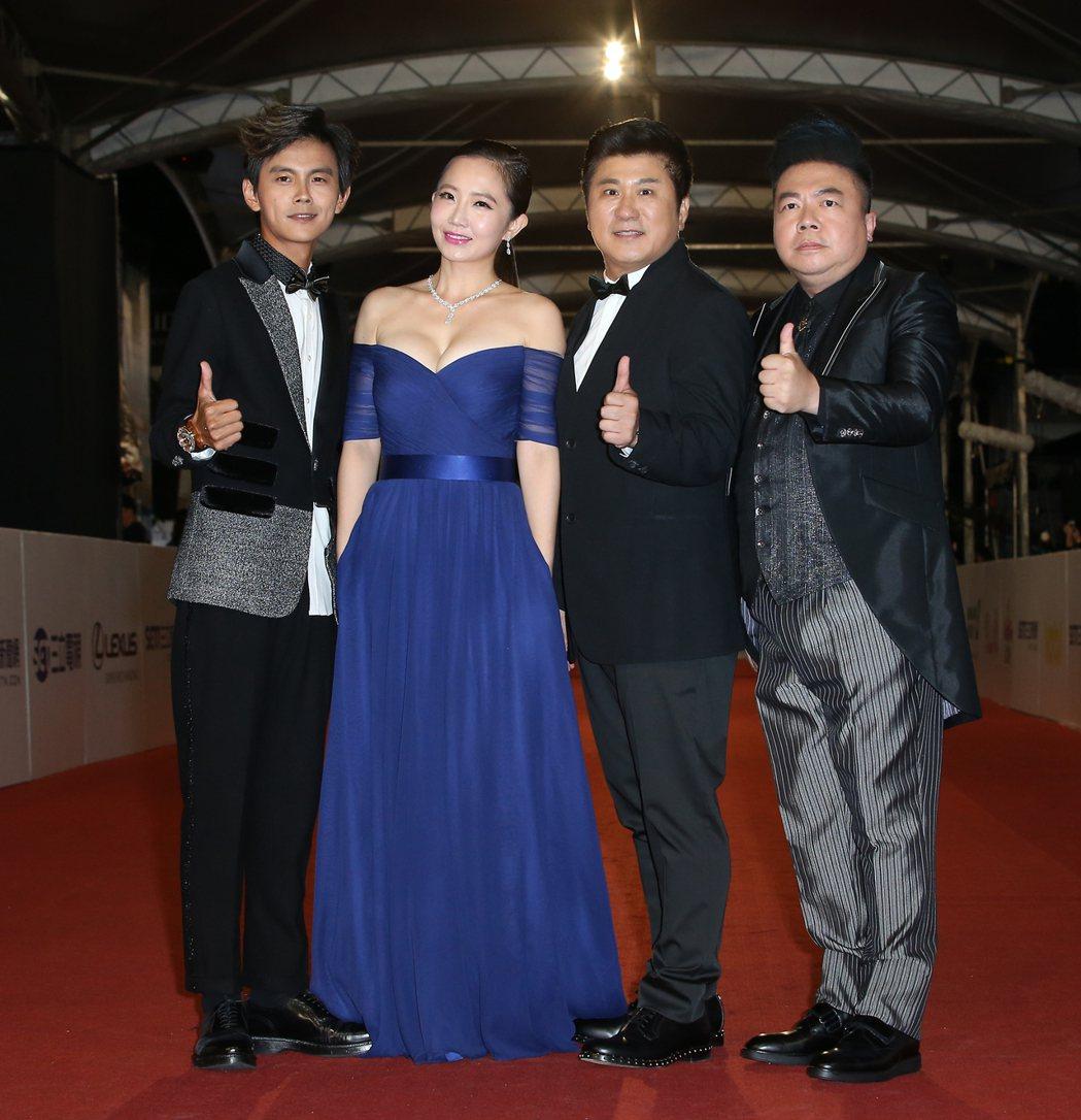 第52屆電視金鐘獎阿翔(左起)、謝昕、胡瓜與董至成。記者陳立凱/攝影