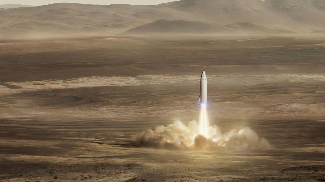 SpaceX公司公布的示意圖,顯示該公司火箭降落在火星表面。 (美聯社)