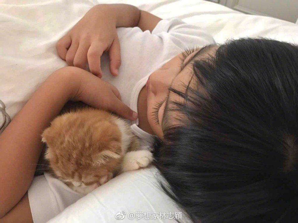 林志穎在兒子沉睡時拍下這照片。 圖/擷自微博。