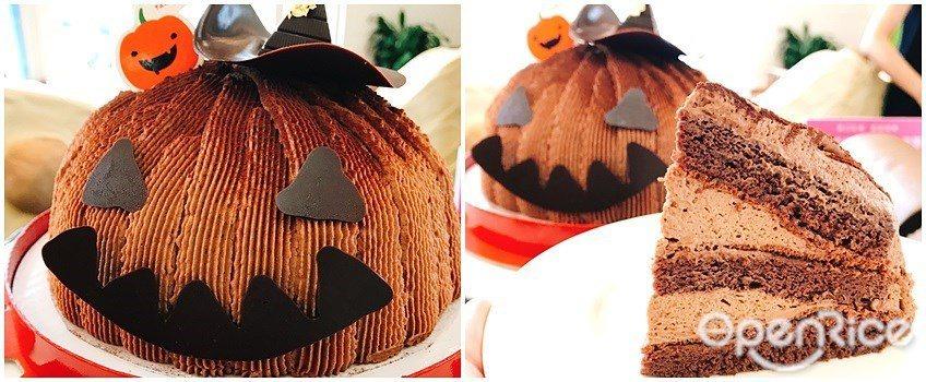 ▲南瓜造型巧克力蛋糕「新奇古怪」